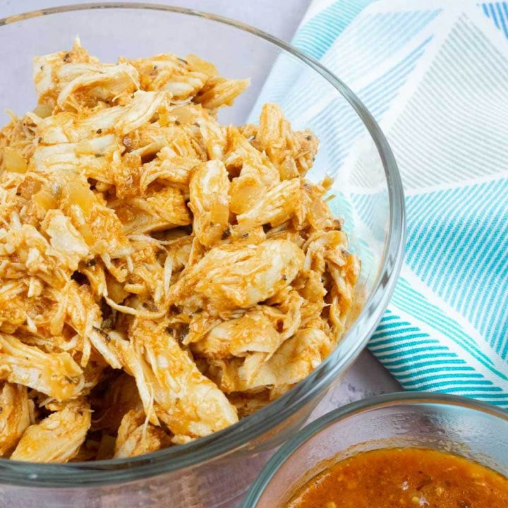 Spicy shredded chicken in a bowl