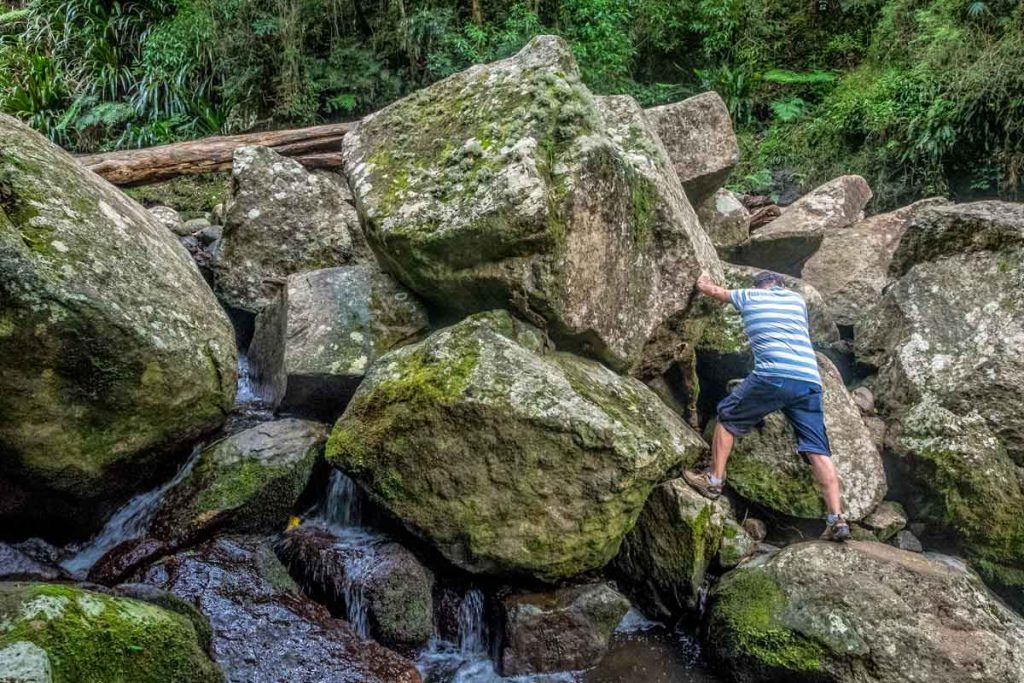 Boulder hopping at Elabana Falls